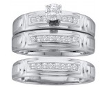 Three Piece Wedding Set 10K White Gold 0.25 cts. GD-29594