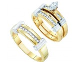 Three Piece Wedding Set 10K Yellow Gold 0.22 cts. GD-39051