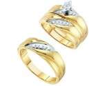 Three Piece Wedding Set 10K Yellow Gold 0.25 cts. GD-39053