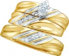 Three Piece Wedding Set 10K Two Tone Gold 0.17 cts. GD-39567