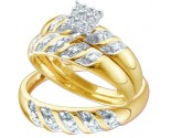 Three Piece Wedding Set 10K Yellow Gold 0.09 cts. GD-41104