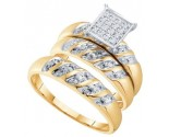 Three Piece Wedding Set 10K Two Tone Gold 0.08 cts. GD-41107