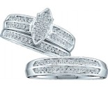 Three Piece Wedding Set 10K White Gold 0.28 cts. GD-40446
