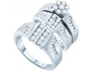 Three Piece Wedding Set 14K White Gold 1.40 cts. GD-46669