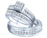 Three Piece Wedding Set 14K White Gold 0.50 cts. GD-46742