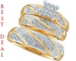 Three Piece Wedding Set 10K Two Tone Gold 0.30 cts. GD-46893