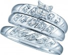 Three Piece Wedding Set 10K White Gold 0.08 cts. GD-48383