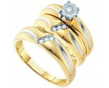 Three Piece Wedding Set 10K Two Tone Gold 0.15 cts. GD-49517