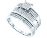 Three Piece Wedding Set 10K White Gold 0.33 cts. GD-51278