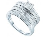 Three Piece Wedding Set 10K White Gold 0.25 cts. GD-51279