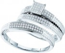 Three Piece Wedding Set 10K White Gold 0.25 cts. GD-52086