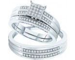 Three Piece Wedding Set 10K White Gold 0.26 cts. GD-52090