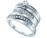 Three Piece Wedding Set 14K White Gold 0.26 cts. GD-54944