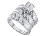 Three Piece Wedding Set 10K White Gold 0.29 cts. GD-55154