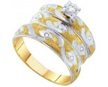Three Piece Wedding Set 10K Yellow Gold 0.15 cts. GD-55160