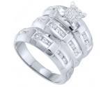 Three Piece Wedding Set 10K White Gold 0.27 cts. GD-56447