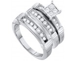 Three Piece Wedding Set 10K White Gold 0.60 cts. GD-56469