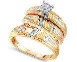 Three Piece Wedding Set 10K Yellow Gold 0.11 cts. GD-56613
