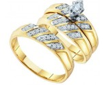 Three Piece Wedding Set 10K Yellow Gold 0.25 cts. GD-57087