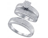 Three Piece Wedding Set 10K White Gold 0.50 cts. GD-63440
