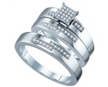 Three Piece Wedding Set 10K White Gold 0.15 cts. GD-63869