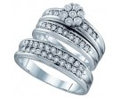Three Piece Wedding Set 10K White Gold 0.12 cts. GD-64457