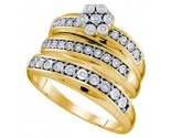 Three Piece Wedding Set 10K Yellow Gold 0.12 cts. GD-65201