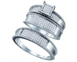 Three Piece Wedding Set 10K White Gold 0.42 cts. GD-66701