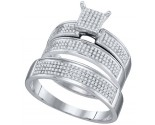 Three Piece Wedding Set 10K White Gold 0.53 cts. GD-67450