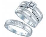 Three Piece Wedding Set 10K White Gold 0.23 cts. GD-81584