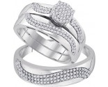 Three Piece Wedding Set 10K White Gold 0.50 cts. GD-92067