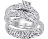 Three Piece Wedding Set 10K White Gold 0.40 cts. GD-92068