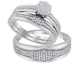 Three Piece Wedding Set 10K White Gold 0.40 cts. GD-92080
