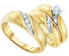 Three Piece Wedding Set 10K Yellow Gold 0.15 cts. GD-9370