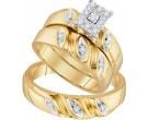 Three Piece Wedding Set 10K Yellow Gold 0.28 cts. GD-96735