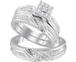 Three Piece Wedding Set 10K White Gold 0.34 cts. GD-96747