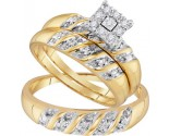 Three Piece Wedding Set 10K Yellow Gold 0.13 cts. GD-96748