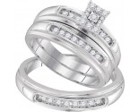 Three Piece Wedding Set 10K White Gold 0.42 cts. GD-96750