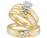 Three Piece Wedding Set 10K Yellow Gold 0.22 cts. GD-96759