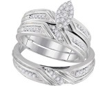Three Piece Wedding Set 10K White Gold 0.35 cts. GD-96760