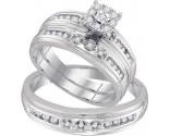 Three Piece Wedding Set 10K White Gold 0.31 cts. GD-96767