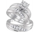 Three Piece Wedding Set 10K White Gold 0.62 cts. GD-96768