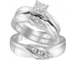 Three Piece Wedding Set 10K White Gold 0.16 cts. GD-96772