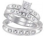 Three Piece Wedding Set 10K White Gold 0.29 cts. GD-96774