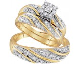 Three Piece Wedding Set 10K Two Tone Gold 0.30 cts. GD-96775