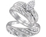 Three Piece Wedding Set 10K White Gold 0.30 cts. GD-96776