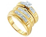 Three Piece Wedding Set 10K Yellow Gold 0.15 cts. GD-9706