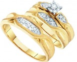 Three Piece Wedding Set 10K Yellow Gold 0.12 cts. GD-9708