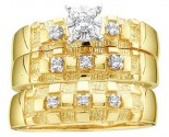 Three Piece Wedding Set 10K Yellow Gold 0.10 cts. GD-9709