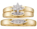Three Piece Wedding Set 10K Yellow Gold 0.10 cts. GD-9989